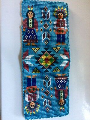 Native American Beaded Pictoral Wallet, Leather! from AZ! Great Condition!