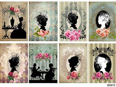 ViCToRiaN LaDieS SiLHoueTTeS ShaBby WaTerSLiDe DeCALs