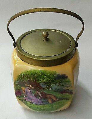 Antique English Biscuit Jar With English Country Scenes