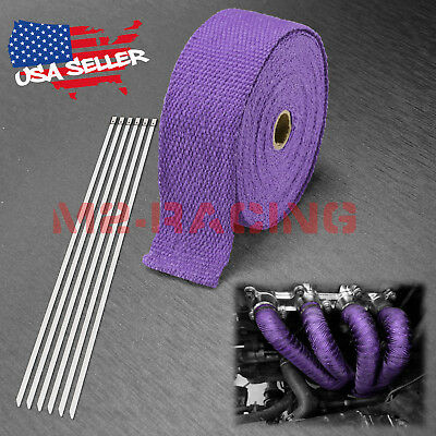 """Purple Exhaust Pipe Insulation Thermal Heat Wrap 2"""" x 50' Motorcycle Header"""