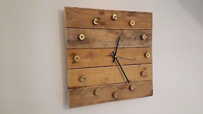 Upcycled Pallet Wood Wall Clock With Shotgun Cartridge Ends as Numerals
