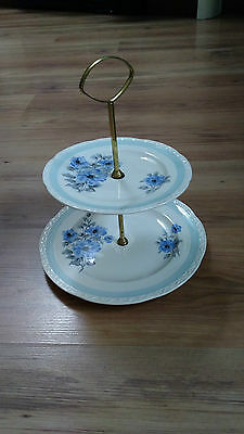 Vintage Weatherby Falcon Ware 2-Tier Cake Stand Ruby White Blue Flower