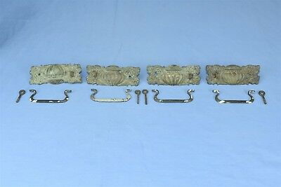 Antique SET 4 VICTORIAN PRESSED BRASS EMBOSSED DRAWER HANDLE PULLS HARDWARE 4270
