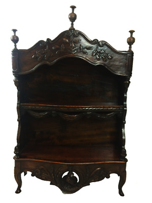Antique French Country Carved Wood Wall Curio Shelf Estagnier