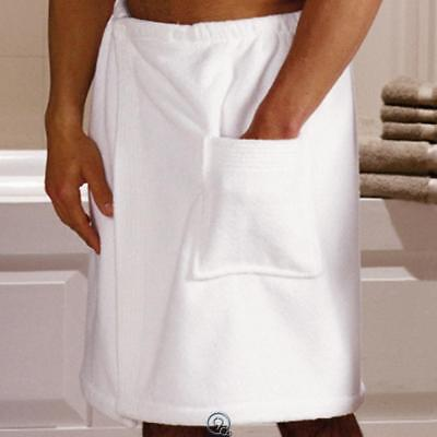 "Mens Turkish Cotton Shower Spa Wrap White Fastens with Snaps 24"" to 58"" Waist"