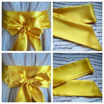 New Plain Yellow Sash Belt Satin Fabric Self Tie Bow Update Dress Bridal Party