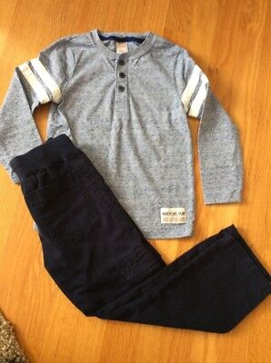 Gymboree Boy Long Sleeve Shirt And Pull On Navy Blue Pants Outfit, Size 5