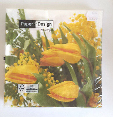 Yellow tulips Paper Napkins. 3x 20 Lunch 33x33cm. 3ply by Paper & Design