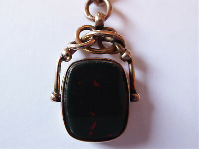 Antique Victorian 9ct Rose Gold Albert Watch Chain & Bloodstone Fob – 37.9 grams