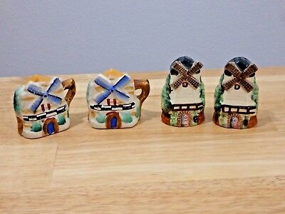 Lot of 2 Sets Vintage Windmill Salt and Pepper Shakers, JAPAN
