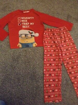 Boys Christmas Minion Pyjamas Age 6-7 Years