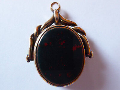 Antique Victorian 15ct Rose Gold Bloodstone & Carnelian Agate Spinning Fob