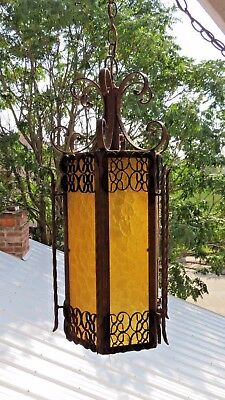 """1970s 25"""" VINTAGE GOTHIC MEDIEVAL SPANISH HANGING LAMP SWAG Amber Lucite Panels"""