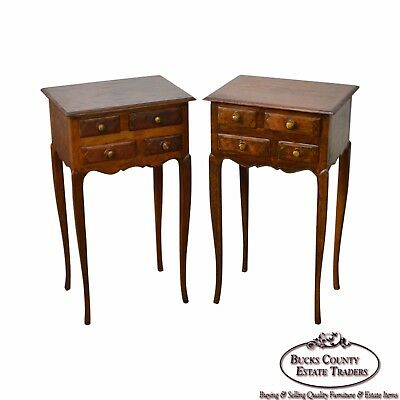 French Louis XV Style Pair of Antique Walnut Nightstands