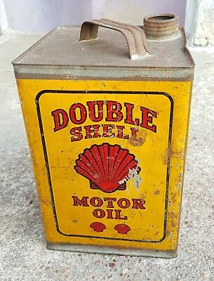 Antique Scarce Double Shell Motor Oil 1 Gallon Oil Ad. Litho Tin Can