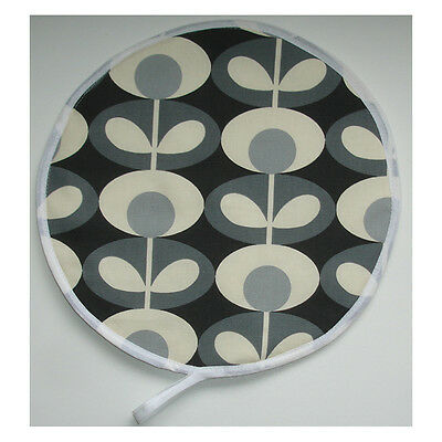 NEW Aga Range Hob Hat Lid Mat Cover Pad Orla Kiely Oval Flower Cool Grey