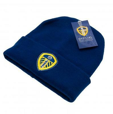 Leeds United FC Official Crested Blue Knitted Hat Size Adult Unisex Present Gift