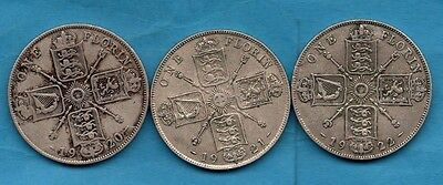 1920, 1921 And 1922 King George V Florin Coins.  3 X Two Shillings.  2/-
