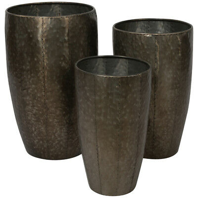 NEW Assorted Set Of 3 Metal Planter Pots Lifestyle Traders Planters