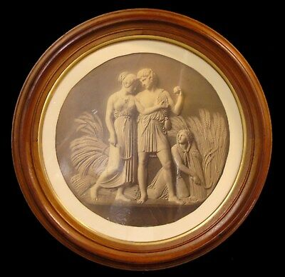 Large Antique Round Victorian Deep Walnut & Gilt Gesso Art Photo Picture Frame