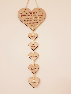 Personalised Mothers Day Gift Mum Grandchildren Name Heart Plaque Wooden Oak