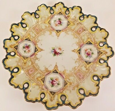 19th c Antique Meiji Pre Nippon Japanese Hand-painted Porcelain Plate Gold Japan