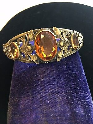 Large Antique Deco Art Nouveau Filigree Amber Topaz  Rhinestone Bangle Bracelet