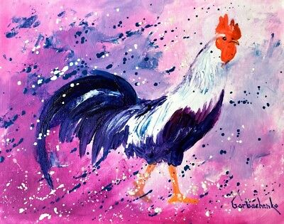 Rooster - Original Art Oil Painting By Tetiana