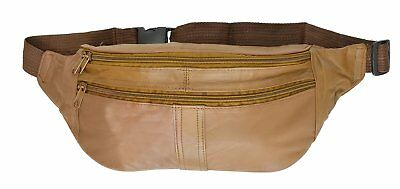 Leather Belt Bag Fanny Pack Hip Pouch with Zippered Compartments by Marshal