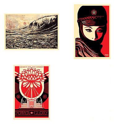 Shepard Fairey SET OF 3 Signed Prints Dark Wave Mujer Fatale Green Power OBEY