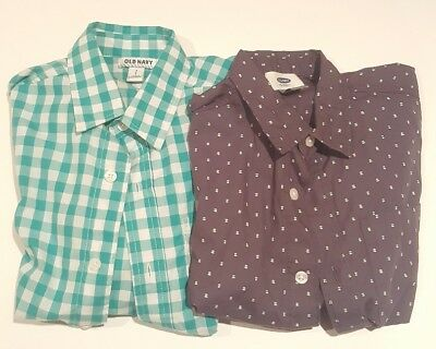 Old Navy Boy's Size Small 6-7 Shirt Lot. Long Sleeve. Blue Plaids.