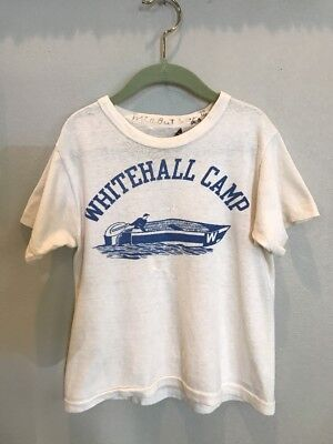 VTG 50s 60s Whitehall Camp BSA T Shirt Youth Boys Champknit Boat Summer