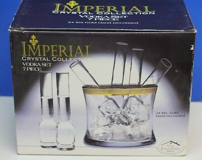 Imperial Crystal Collection Vodka Set 24K Gold 7 Piece