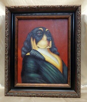 Executive Dog Portrait Oil Painting on Canvas in Vintage Style Decorative Frame