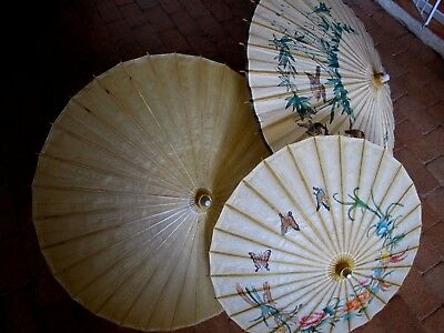 TWO Vintage Japanese/Oriental Paper Parasol/Umbrella (plus one free)