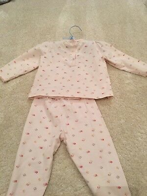 The Little White Company Pink Floral Pyjamas Set 9-12 Months Excellent condition
