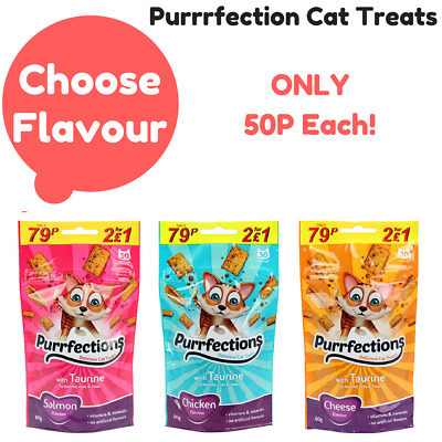 Purrfection Cat Treats Crunchy Cheese Chicken or Salmon 60g packs