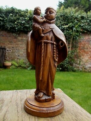 Antique Carved Wooden Religious Figure~Monk~Saint~Holding Baby Jesus