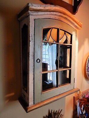GREAT Antique Primitive Green White Gold Painted Glass Wood Cabinet 15x17x5