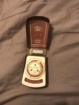 Vintage ZEISS IKON IKOPHOT light Meter Mid Cent Ivory, Mdl.1329, tan Case works?
