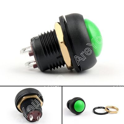 1x Waterproof 12mm Push Button Switch ON/OFF Self-Locking Green US Toowei