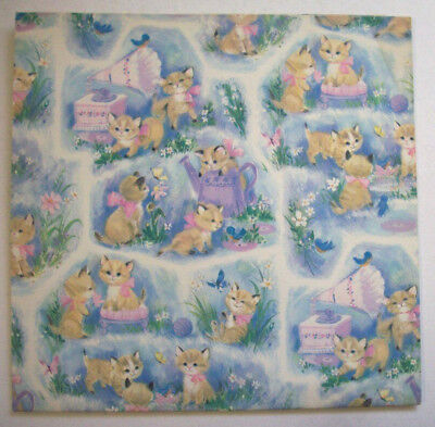 Vintage Playful kittens birthday baby wedding  gift wrap wrapping paper