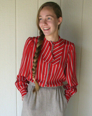Vintage 1970s Jones New York Striped Red Blouse with Bow Tie
