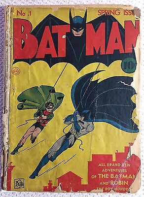 Batman #1 (1940, DC)  1st appearances of the Joker & Catwoman Missing Back Cover
