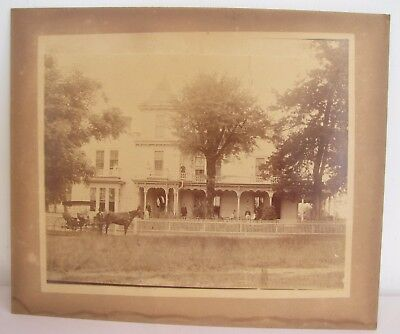 Antique Circa 1880 Albumen Photo Large Victorian Mansion People Horse Buggy