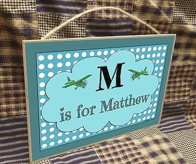 "Personalized  Airplanes Name Kids Room Baby Nursery 7"" x 10.5"" SIGN Plaque"