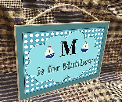 "Personalized Sailboats Name Kids Room Baby Nursery 7"" x 10.5"" SIGN Boats Plaque"