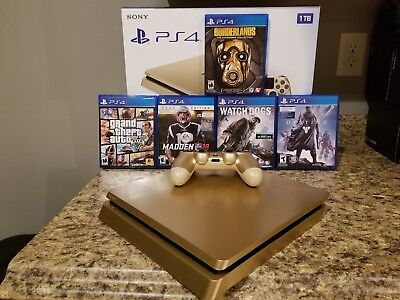 Sony PlayStation 4 Slim Limited Edition 1TB Gold Console with 5 Games