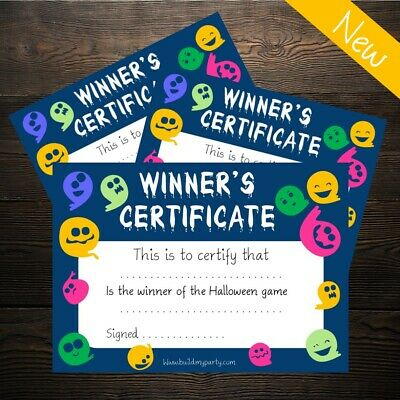 Halloween Game Winners Certificate - Costume, Prize, Party, Spooky - 10 Pack!
