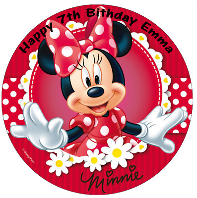 """Minnie Mouse Red Personalised Cake Topper Edible Wafer Paper 7.5"""" Any Occasion"""